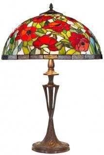Casa Padrino Tiffany Tischleuchte Bronzefarben / Mehrfarbig Ø 40 x H. 60 cm - Handgefertigte Hockerleuchte - Vorschau