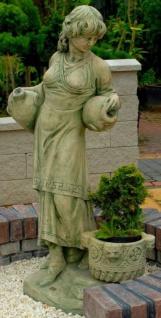 Casa Padrino Jugendstil Wasserspeier Skulptur Frau mit Krügen und dekorativem Blumentopf Grün / Beige 63 x 61 x H. 140 cm - Gartendeko Statue Steinfigur