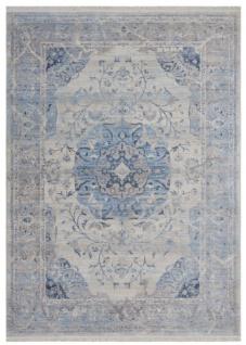 Casa Padrino Vintage Teppich Blau / Grau - Verschiedene Größen - Rechteckiger Wohnzimmer Teppich - Deko Accessoires
