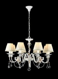 Casa Padrino Barock Kristall Decken Kronleuchter Weiß / Gold 76 x H 51 cm Antik Stil - Möbel Lüster Leuchter Hängeleuchte Hängelampe