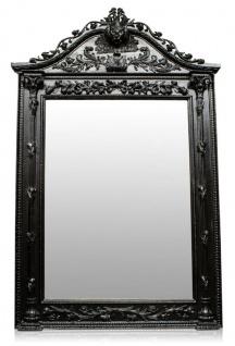 Casa Padrino Luxus Barock Standspiegel Schwarz - Handgefertigter Massivholz Spiegel im Barockstil - Barock Möbel - Edel & Prunkvoll