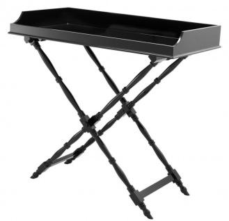 Casa Padrino Designer Mahagoni Tablett Schwarz 110 x 56 x H. 103 cm - Luxus Serviertablett