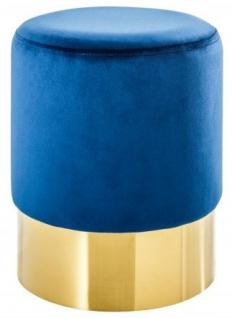 Casa Padrino Designer Rundhocker Blau / Gold B. 35 x H. 41 cm - Wohnzimmer Möbel