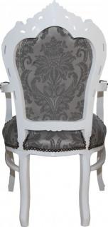 Casa Padrino Barock Esszimmer Stuhl mit Armlehnen Grau Muster / Weiß - Antik Möbel - Vorschau 3
