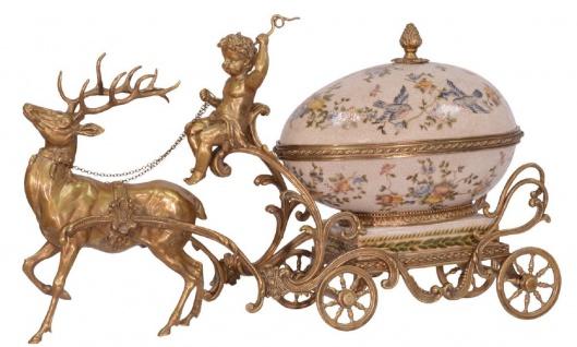 Casa Padrino Jugendstil Schmuckschatulle Kutsche Messingfarben / Mehrfarbig 49, 9 x 17, 6 x H. 28, 5 cm - Prunkvolle Schmuckschatulle