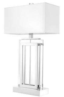 Casa Padrino Luxus Tischleuchte Silber / Weiß 38 x H. 67, 5 cm - Hotel & Restaurant Möbel