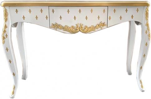 Casa Padrino Luxus Barock Konsole Weiß Gold mit Schublade 120 x 40 x H. 85 cm - Barock Konsolentisch
