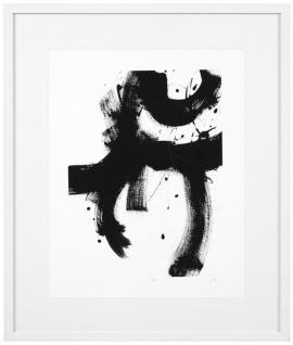 Casa Padrino Luxus Bild Design II Schwarz / Weiß 85 x H. 100 cm - Kunstdruck mit Holzrahmen