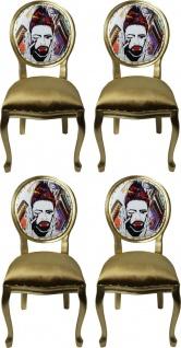 Pompöös by Casa Padrino Luxus Barock Esszimmerstühle Gold / Mehrfarbig 50 x 60 x H.104 cm - Pompööse Barock Stühle designed by Harald Glööckler - 4 Esszimmerstühle