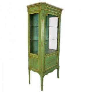 Casa Padrino Barock Vitrine Antik Stil Grün / Gold 160 cm - Vitrinenschrank - Wohnzimmer Schrank - Antik Stil Möbel - Vorschau 2