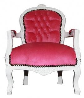 Barock Kinder Stuhl Rosa/Weiß - Armlehnstuhl