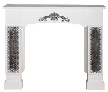 Casa Padrino Landhausstil Kaminumrandung mit Verzierungen Weiß 115 x 23 x H. 100 cm - Handgefertigte Deko im Landhausstil