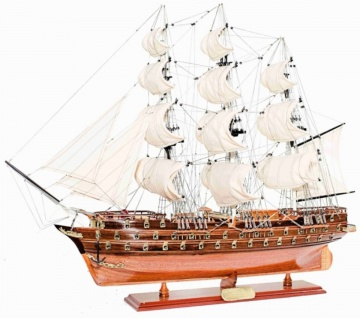 Casa Padrino Luxus Flaggschiff Napoleon mit Massivholz Ständer Braun 104 x 20 x H. 76 cm - Handgefertigtes Deko Schiff Holzschiff Segelschiff Kriegsschiff - Deko Accessoires