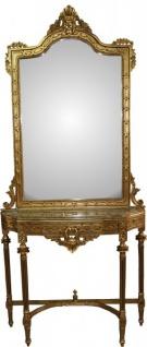 Casa Padrino Barock Spiegelkonsole in Gold mit Marmorplatte Mod3 - Antik Look