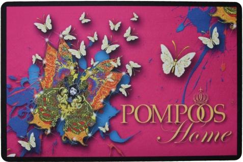 Harald Glööckler Designer Fußmatte Pompöös Welcome Home mit Krone und Schmetterlingen Bunt 66 x 44 cm - Schmutzfangmatte