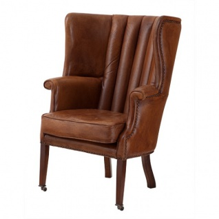 Luxus Echtleder Ohrensessel Elegance Chesterfield Vintage Braun - Sessel mit echtem Leder