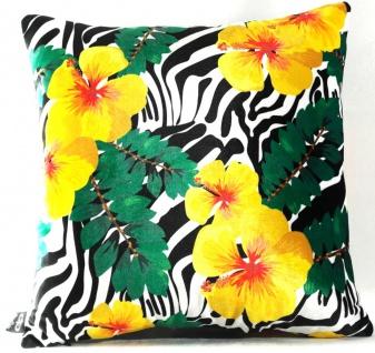 Casa Padrino Luxus Deko Kissen Florida Flowers Mehrfarbig 45 x 45 cm - Feinster Samtstoff - Dekoratives Wohnzimmer Kissen