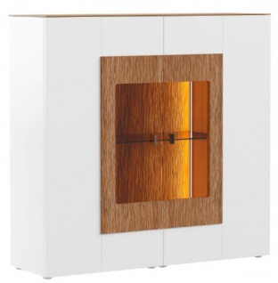 Casa Padrino Vitrinenschrank Weiß / Braun 111 x 40 x H. 138 cm - Moderne Beleutete Massivholz Vitrine - Wohnzimmer Schrank - Barschrank - Wohnzimmer Möbel