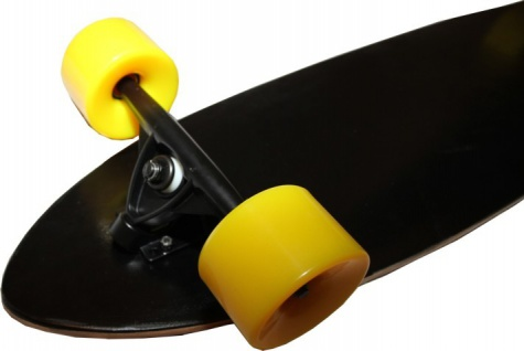 MySkateBrand Longboard Komplettboard Cruiser Black/Yellow 92.5 x 23 cm - Longboard Skateboard Cruiser
