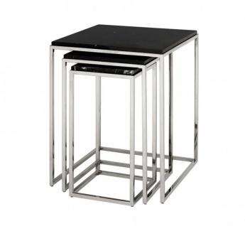 Casa Padrino Luxus Art Deco Designer Beistelltisch 3er Set - Luxus Beistelltisch Set