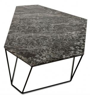 Casa Padrino Designer Couchtisch Schwarz mit Muster / Schwarz 89 x 54 x H. 30 cm - Luxus Wohnzimmertisch mit Marmorplatte - Vorschau 2