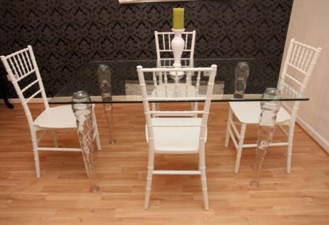 Designer Acryl Esszimmer Set - Ghost Chair Table - Polycarbonat Möbel - 1 Tisch + 4 Stühle - Casa Padrino Designer Möbel Weiß - Casa Padrino Designer Möbel - Vorschau 2