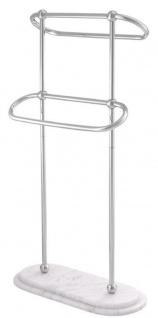 Casa Padrino Luxus Handtuchhalter Silber / Weiß 50 x 22 x H. 91 cm - Luxus Badezimmer Accessoires