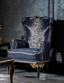 Casa Padrino Luxus Barock Ohrensessel Blau / Schwarz / Gold - Edler Wohnzimmer Sessel mit elegantem Muster - Handgefertigte Barock Möbel