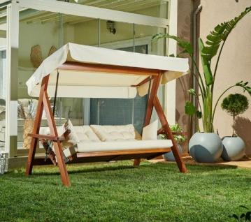 Casa Padrino Luxus Hollywood Schaukel Cremefarben / Braun - Moderne Wetterfeste Garten Schaukel mit Sonnendach - Garten Terrassen Hotel Möbel - Luxus Möbel - Vorschau 2