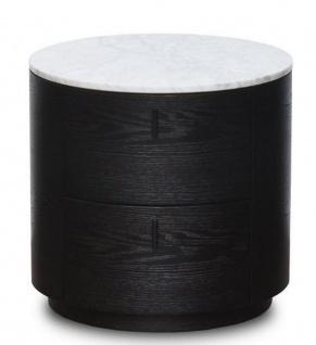 Casa Padrino Luxus Beistelltisch Schwarz / Weiß Ø 48 x H. 46 cm - Runder Holz Tisch mit Marmorplatte und 2 Schubladen