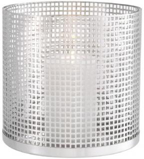 Casa Padrino Luxus Kerzenleuchter Silber Ø 25, 5 x H. 25 cm - Runder Kerzenleuchter aus Edelstahl und Glas - Luxus Deko Accessoires
