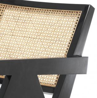 Casa Padrino Designer Stuhl mit Armlehnen in schwarz / naturfarben 58 x 82 x H. 70 cm - Designermöbel - Vorschau 5