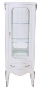 Casa Padrino Barock Vitrine Weiß 130 cm - Vitrinenschrank - Wohnzimmerschrank