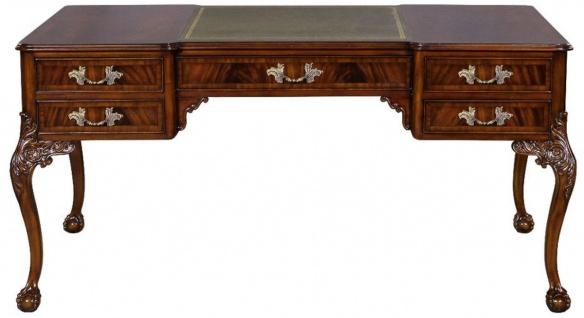 Casa Padrino Luxus Barock Schreibtisch Dunkelbraun / Silber / Grau / Gold - Handgefertigter Mahagoni Schreibtisch mit 5 Schubladen - Barock Büro Möbel - Vorschau 2