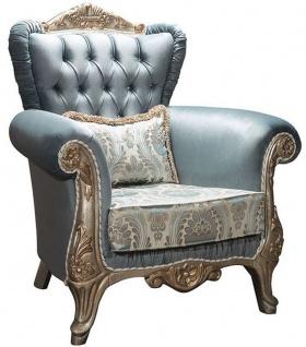 Casa Padrino Luxus Barock Sessel Türkis / Antik Silber 90 x 85 x H. 110 cm - Edler Wohnzimmer Sessel mit Glitzersteinen und dekorativem Kissen - Barock Möbel