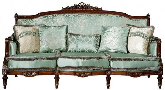 Casa Padrino Luxus Barock Sofa Hellgrün / Braun 227 x 90 x H. 126 cm - Wohnzimmer Sofa mit dekorativen Kissen - Barock Möbel