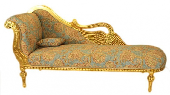 Casa Padrino Barock Luxus Chaiselongue Antik Gold-Türkis-Rot Muster / Gold - Golden Wings - Luxus Qualität