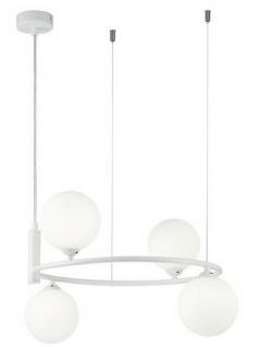 Casa Padrino Luxus Hängeleuchte Weiß / Weiß Ø 39 x H. 28 cm - Moderne höhenverstellbare Metall Hängelampe mit runden Glas Lampenschirmen