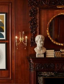 Casa Padrino Luxus Jugendstil Doppel Wandleuchte Antik Messingfarben 32, 4 x 17, 2 x H. 46, 4 cm - Wandlampe mit Metallperlen - Vorschau 3
