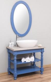 Casa Padrino Landhausstil Badezimmer Set Blau / Hellgrau - 1 Waschtisch & 1 Wandspiegel - Massivholz Badezimmer Möbel im Landhausstil