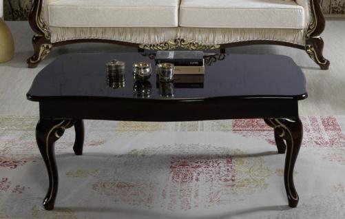 Casa Padrino Barock Couchtisch Schwarz / Gold 105 x 74 x H. 50 cm - Barockstil Wohnzimmertisch - Barock Wohnzimmer Möbel