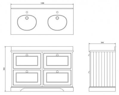 Casa Padrino Doppel Waschschrank mit Granitplatte und 4 Schubladen 130 x 55 x H. 93 cm - Vorschau 4
