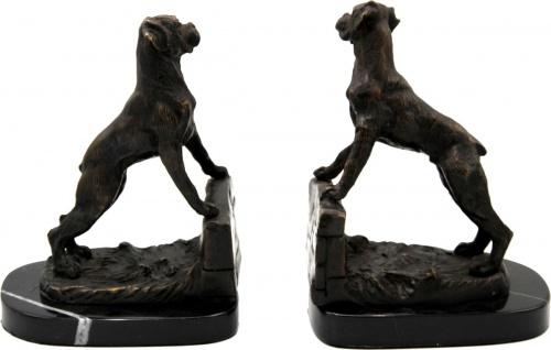 Casa Padrino Luxus Buchstützen Set Hunde Bronze auf schwarzem Marmor Sockel - Luxus Deko