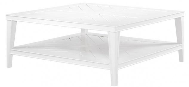 Casa Padrino Luxus Couchtisch Weiß 100 x 100 x H. 42 cm - Quadratischer Wohnzimmertisch aus hochwertigen strapazierbarem Aluminium - Gartentisch - Vorschau 2