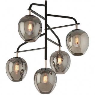 Casa Padrino Luxus Kronleuchter Schwarz / Silber / Grau 90, 2 x 90, 2 x H. 97, 8 cm - Kronleuchter mit Glas Lampenschirmen - Luxus Qualität