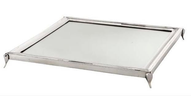Casa Padrino Luxus Tablett Rechteckig Massiv Spiegel Oberfläche Edelstahl Massiv vernickelt 36 x 36 cm - Luxury Collection - 5 Sterne Gastronomie Einrichtung