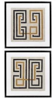 Casa Padrino Designer Bilder Set Mehrfarbig / Schwarz 69 x H. 69 cm - Dekorative Wandbilder mit Holzrahmen - Designermöbel