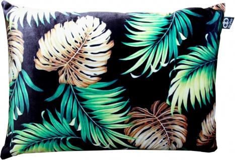 Casa Padrino Luxus Kissen San Francisco Palm Leaves Schwarz / Mehrfarbig 35 x 55 cm - Feinster Samtstoff - Wohnzimmer Deko Accessoires