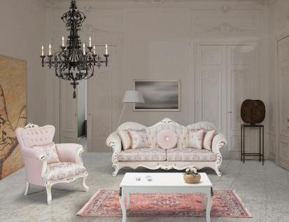 Casa Padrino Luxus Barock Wohnzimmer Set Rosa / Weiß / Gold - 2 Sofas & 2 Sessel & 1 Couchtisch - Wohnzimmer Möbel im Barockstil - Edel & Prunkvoll