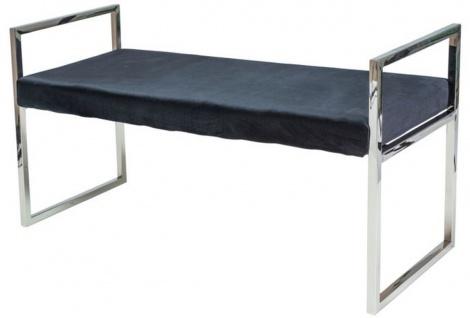 Casa Padrino Luxus Samt Sitzbank mit verchromtem Edelstahl Gestell Schwarz / Silber 103 x 41 x H. 48 cm - Wohnzimmermöbel